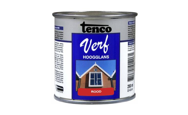 TENCOVERF DEKKEND HOOGGLANS ROOD Verf/Beitsen Tenco verf  bij Houthandel Jan Sok