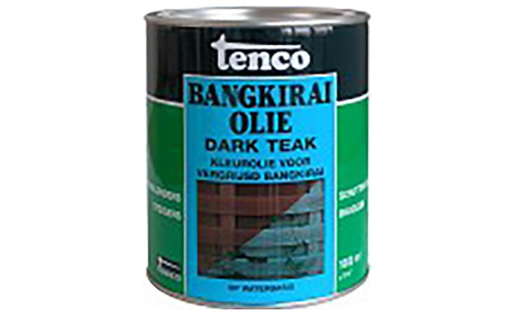 TENCO BANGKIRAI OLIE WATERBASIS DARK TEAK Verf/Beitsen Tenco beits  bij Houthandel Jan Sok